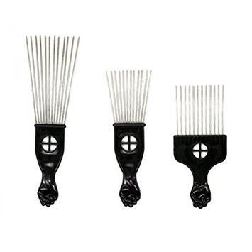Frcolor 3pcs Metal Hair Pick Comb Styling Brush Hair Pick with Fist Handle for Volume and Tangles Hair
