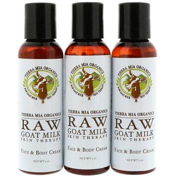 Tierra Mia Organics, Raw Goat Milk Skin Therapy, Face & Body Cream, Lavender + Vanilla + Coconut, 3 Bottles, 2oz (56 g) each [Scent : Lavender + Vanilla + Coconut]