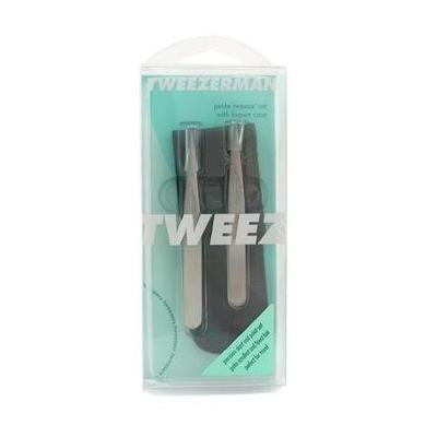 Petite Tweeze Set: Slant Tweezer + Point Tweezer - ( With Brown Leather Case ) 2pcs