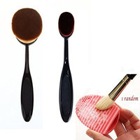 Buytra 3-Piece Makeup Brush Set with Big and Small Oval Toothbrush Foundation Brush and Makeup Brush Cleaner Egg Scrubber Board