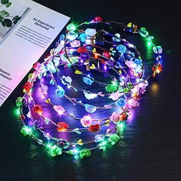 Wreath Headband, Fascigirl 7 Pcs Multicolored Flower Decor Headdress Floral Crown Luminous 10 LED Headpiece for Party