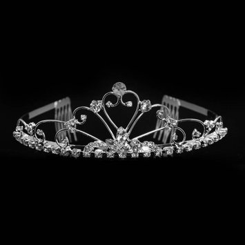 Bridal Tiara Crown Silver With Swarvoski Rhinestone Elements Heart Pattern