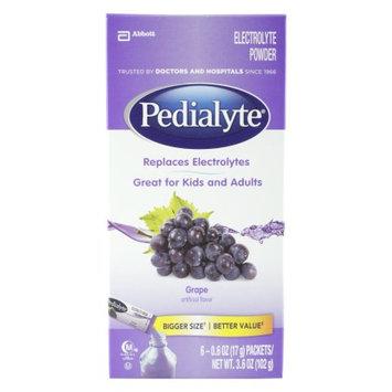 Pedialyte, Grape Flavor, Electolyte Powder, 6 0.6 oz Packets