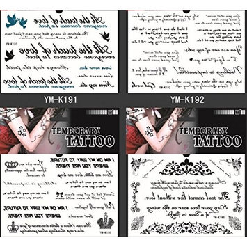 Grashine long last and look like real temporary tattoos 4pcs temp tattoo stickers in one package, it's different English Word designs,flowers,crowns,birds,etc.