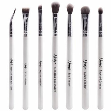 Nanshy Eye Brush Set including 7 Prestige Makeup Brushes for Eyes, Brows and Lips Pearlescent White