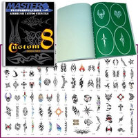 Master Airbrush® Brand Airbrush Tattoo Stencils Set Book #8 Reuseable Tattoo Template Set, Book Contains 100 Unique Stencil Designs, All Patterns Come on High Quality Vinyl Sheets with a Self Adhesive Backing.