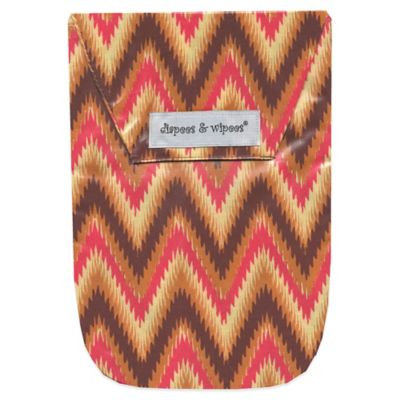 Diapees & Wipees Laminated Storage Bag with Wipes Case in iKat Chevron