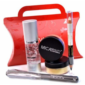 Bundle of 5 Items:MicaBeauty 2x9 Gram Mineral Foundation (MF9)+Perfecting Makeup Primer+Eye Liner Duo Pencil+Foundation Brush+Red Gift Box