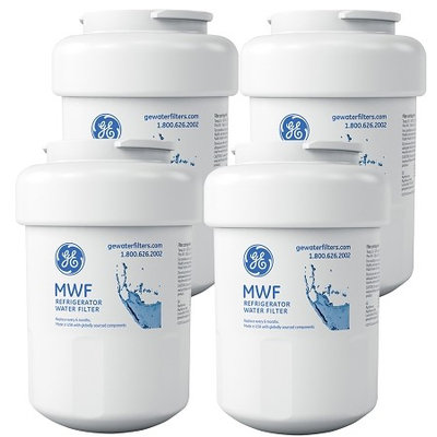 General Electric GE MWF Refrigerator Replacement Water Filter Cartridge 4 Pack