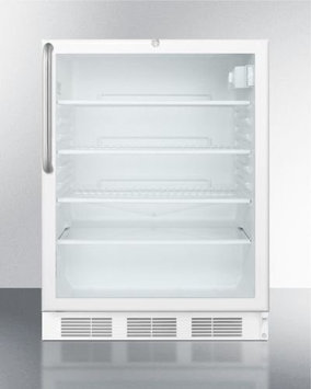 Summit SCR600LCSSADA: ADA compliant, commercially approved glass door all-refrigerator for built-in use, wit