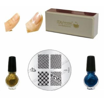 (Bundle of 4 Items) Konad Special Plish Gold+blue Pearl 11 Ml Special Polish+image Plate M96+itay Beauty Nail Buffer (Bundle of 4 Items)