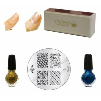 (Bundle of 4 Items) Konad Special Polish Gold+blue Pearl 11 Ml Special Polish+image Plate M97+itay Beauty Nail Buffer (Bundle of 4 Items)