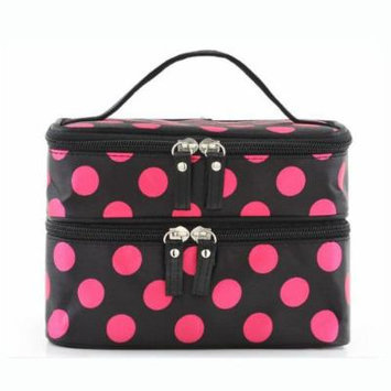 H:oter Women & Girls Polka Dots Double Layer Dual Zipper Cosmetic Bag Toiletry Bag Make-up Bag Hand Case Bag, Gift Ideas--Colors Various - Hotpink