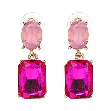 DZT1968 Women girl 1.5x4cm Pendant Long Rhinestone Crystal Party Dress Earring