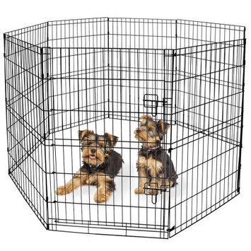 BV Pet Foldable Exercise Pen / Dog Playpen, 8 Panels with Single Door (24