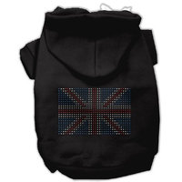 Mirage Pet Products 12-Inch British Flag Hoodies, Medium, Black
