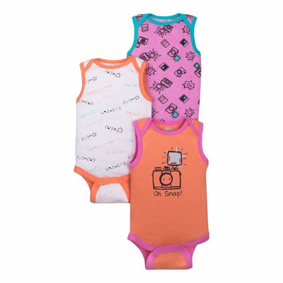 Baby Girl Assorted Sleeveless Bodysuits, 3-Pack