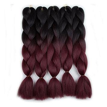 5 Pieces 2 Tone Ombre Braiding Hair Crochet Braids Synthetic Hair Extensions 24 Inch (Black/BUG#, 5pcs/Lot)