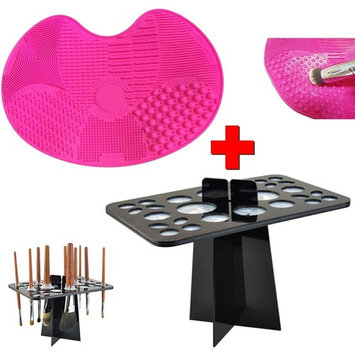 Makeup Brush Cleaning Mat Pad and Makeup Brush Holder Drying Tower Set, TOFAR Brush Cleaner Folding Air Drying Organizer Acrylic Brush Drying Rack Cosmetic Shelf Tools Set