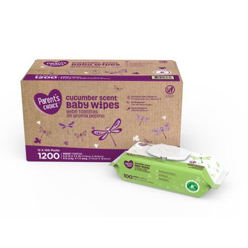Walmart Parents Choice Refreshing Cucumber Baby Wipes, 12 packs of 100 (1200 count)