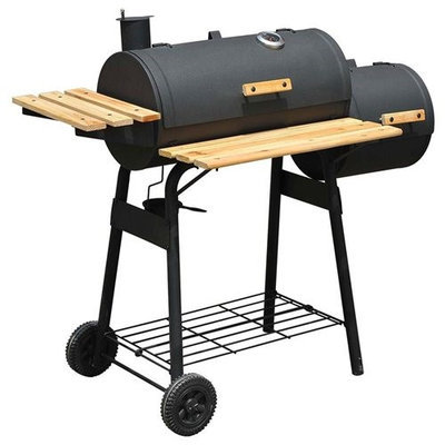 Aosom Outsunny Backyard Charcoal BBQ Grill / Offset Smoker Combo w/ Wheels