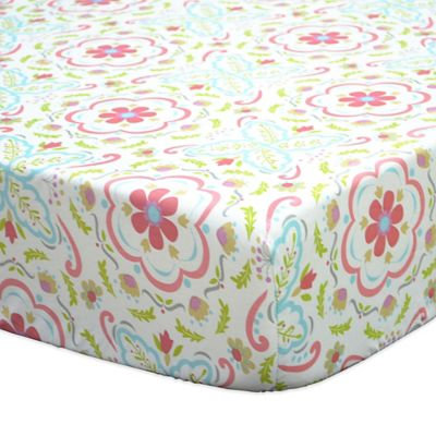 The Peanut Shell Gia Floral Damask Fitted Crib Sheet