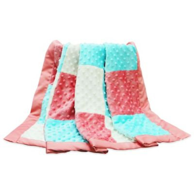 The Peanut Shell Gia Patched Minky Dot Blanket