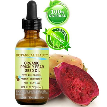 PRICKLY PEAR CACTUS SEED OIL ORGANIC. 100% Pure / Natural / Undiluted / Virgin / Unrefined Cold Pressed Carrier oil. 0.5 Fl.oz.- 15 ml. For Skin, Hair, Lip and Nail Care.