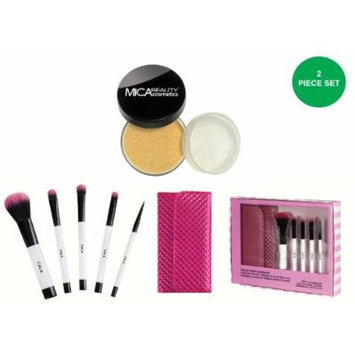 Cala 5pc Deluxe Travel Brush Set with Pink Case + MicaBeauty Foundation MF5 Cappuccino (Bundle of 2 Items)