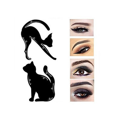 AMA(TM) 2Pcs Women Cat Line Pro Eye Makeup Tool Eyeliner Stencils Template Shaper Model