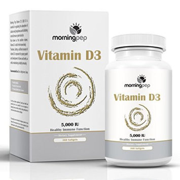Vitamin D3 5000 iu 360 Count High Potency Mini Softgels in Cold-Pressed Organic Extra Virgin Olive Oil for Better Absorption By Morning Pep Non-GMO Made in USA, Supports Bone Muscle And Immune System