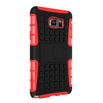 Lookatool For Samsung Galaxy NOTE 5 Shockproof Armor Full Body Protective Case with Kickstand Case Cover Skin (Red)
