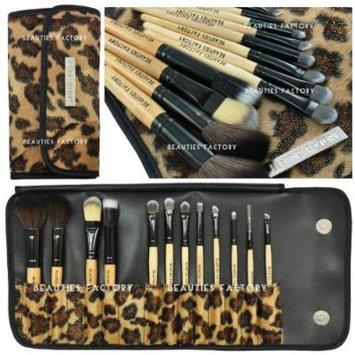 12 pcs Makeup Brush Set & Free Eyebrow Pencil Lip Liner Gift (African Leopard)
