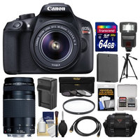 Canon EOS Rebel T6 Wi-Fi Digital SLR Camera & EF-S 18-55mm IS II Lens with 75-300mm III Lens + 64GB Card + Case + Flash + Battery & Charger + Tripod + Kit