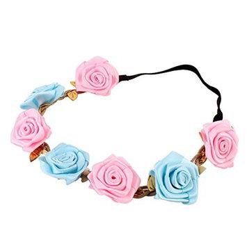 Frcolor Rose Flower Hair Wreath Floral Headband Headwear Girls Bridal Hair Accessories (Pink and Blue)