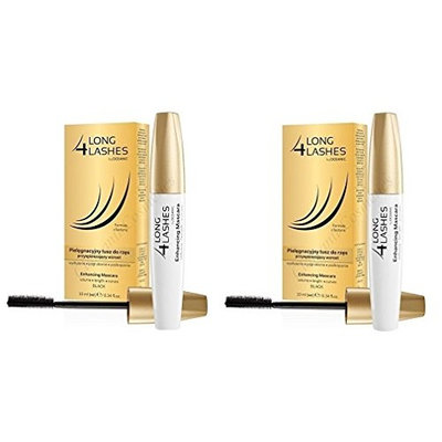 Long 4 Lashes by Oceanic, Enhancing Mascara for Volume, Length, Curves, Black, 10 ml (Pack of 2) + FREE Assorted Purse Kit/Cosmetic Bag Bonus Gift