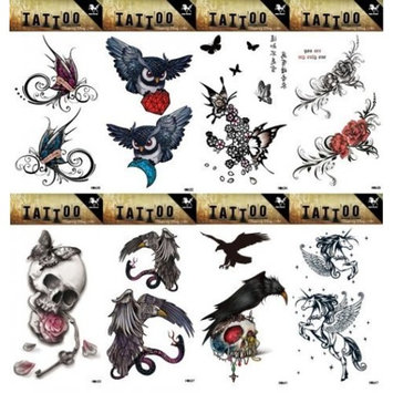 Grashine 8pcs different long last and realistic temporary tattoos in 1package, it including butterflies,owls,skull heads,flowers,eagle with snakes,horse tattoo stickers