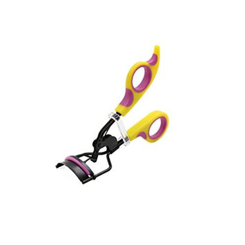 uxcell Yellow Purple Portable Handle Eyelash Curler Curling Clip Beauty Cosmetic Tool