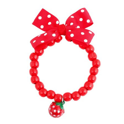 Bow Strawberry Decoration Stretch Pet Dog Puppy Cat Necklace Red S