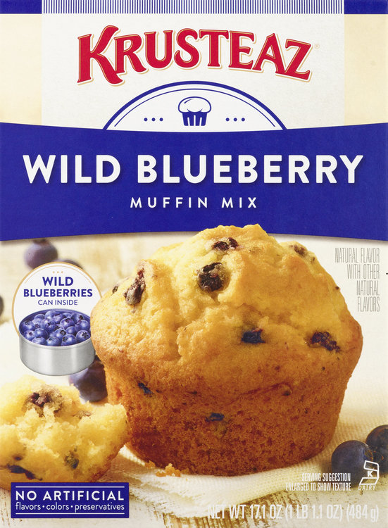 Krusteaz Muffin Mix, Wild Blueberry, Box