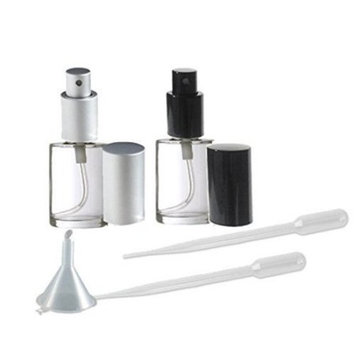 Perfume Fine Mist Atomizers, Round Glass Bottle, Grand Parfums Black and Matte Silver Fine Mist Sprayer 1/2 Oz -15ml (set of 2 1 of color)