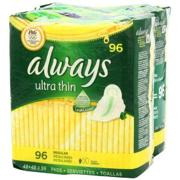 Always Ultra Regular with Wings, Unscented Thin Pads 96 Count (Pack of 2)