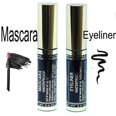 Black Mascara & Eyeliner Waterproof Liquid Makeup Long Lasting | Kit Of 2
