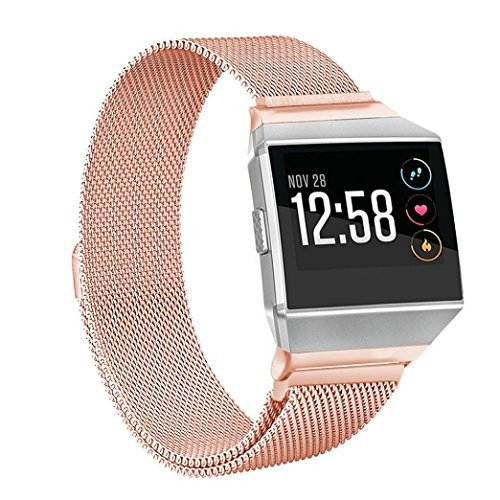 Fitbit Ionic Watch Wristband,AutumnFall 2017 New Milanese Stainless Steel Watch Band Strap Bracelet For Fitbit Ionic,Band Longth:169-204mm (Rose G
