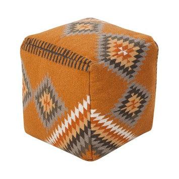 Surya 18 in. Southwest Cube Wool Pouf