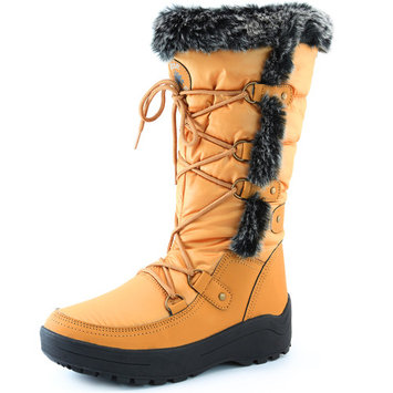 DailyShoes Woman's Knee High Lace Up Warm Fur Water Resistant Eskimo Snow Boots, Mustard, 9 B(M) US