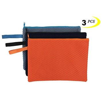 Zipper Bags 3 PCS A4 Zipper Bags Document File Folder Cosmetic Pouch Colour Random