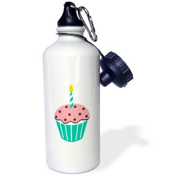 3dRose Chocolate Peppermint Cupcake Cartoon, Sports Water Bottle, 21oz