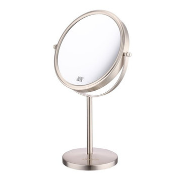 8-Inch 10x Magnification Makeup Mirror Tabletop Two-Sided Swivel Vanity Mirror Nickel finished ALHAKIN