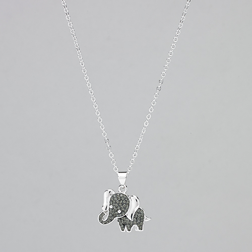 Shine Black Diamond Crystal Elephant Pendant, Black